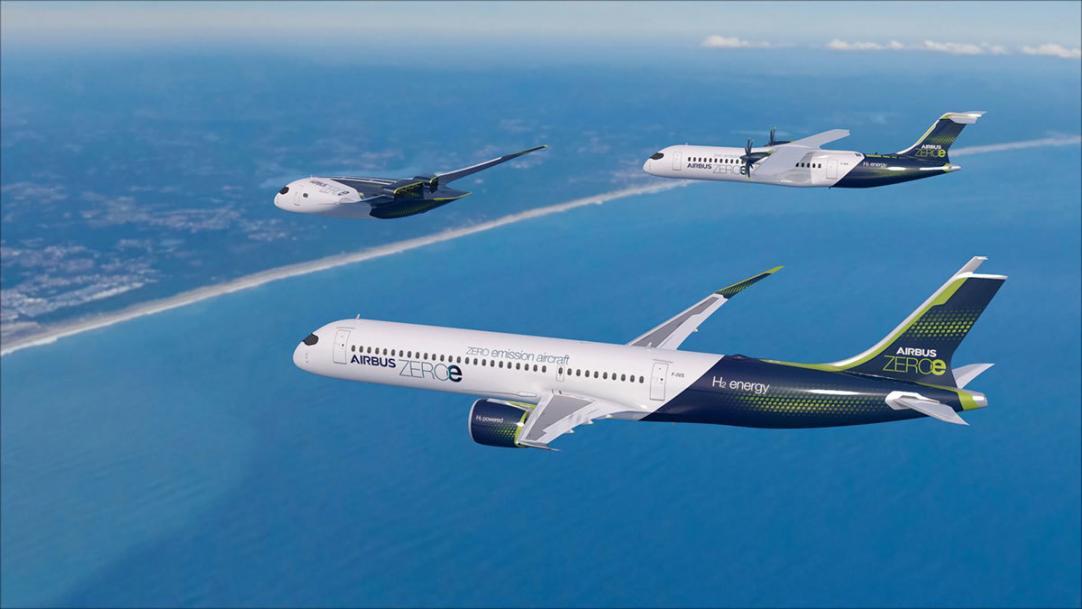 Airbus представил три дизайна самолетов с водородным двигателем - Ведомости